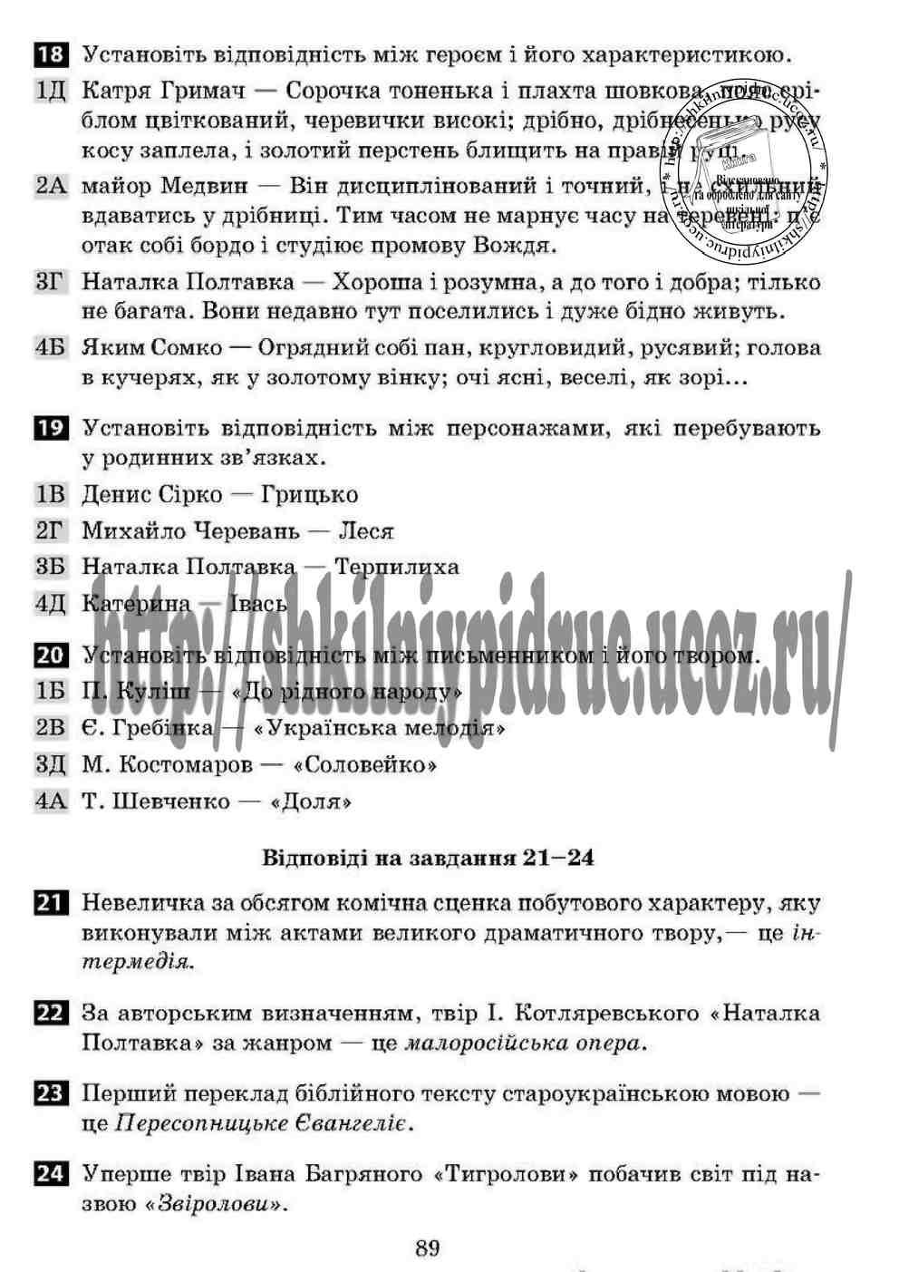 Бузинська класс гуйванюк по украинской решебник литературе 6