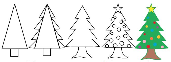 Как сделать нарисовать ёлку